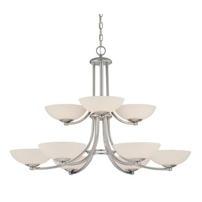 Rainier 9-Light Shaded Chandelier Finish: Satin Nickel