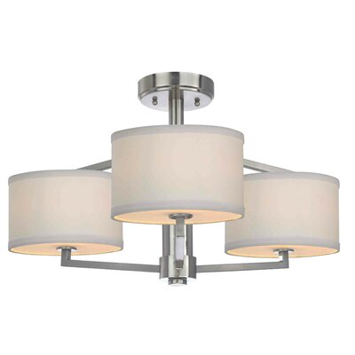 Cervantes 3-Light Semi-Flush Mount Finish: Satin Nickel
