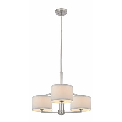 Cervantes 3-Light Drum Pendant Finish: Satin Nickel