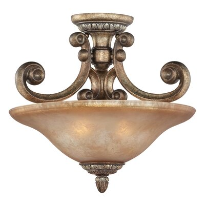 Carlyle 2-Light Semi Flush Mount Size: 14.5 H x 16.5 W