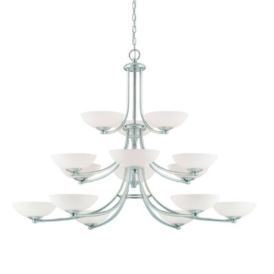 Rainier 15-Light Shaded Chandelier Finish: Satin Nickel