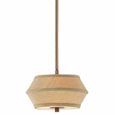 Sunrise 2-Light Drum Pendant Height: 15.25, Finish / Shade: Classic Bronze / Pleated