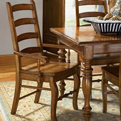 Low Price A-America Vintage Oak Ladderback Arm Chair (Set of 2)