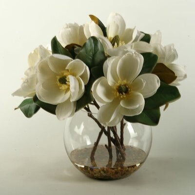 Cream Magnolias in Clear Glass Bubble Bowl