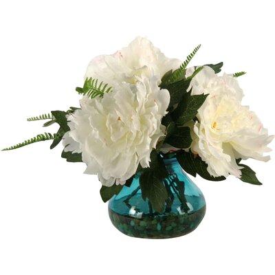 Cream/Pink Peonies in Vintage Blue Garden Vase