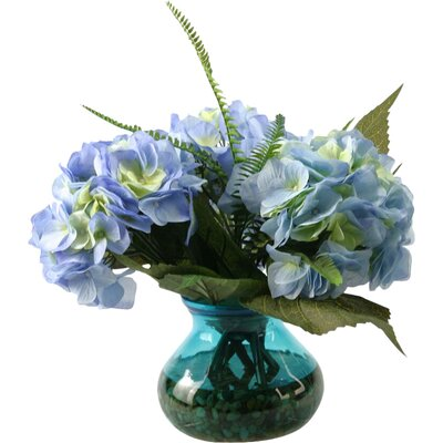 Large Hydrangeas with Deer Fern and Queen Anne's Lace Vintage Glass Floral Arrangements in Vase