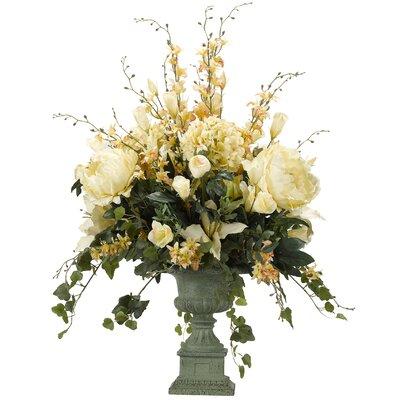 Hydrangeas, Peonies, Lilies and Lisianthus Floor Flowering Plant in Urn