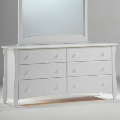 Spices Bedroom 6 Drawer Double Dresser Color: White