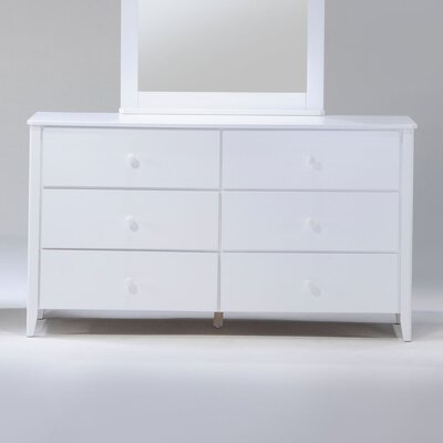Zest 6 Drawer Double Dresser Color: White