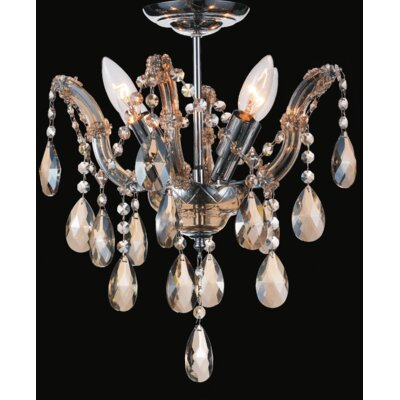 Pruitt 4-Light Semi Flush Mount Crystal Color: Clear