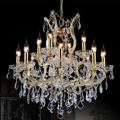 Orr Crystal 13-Light Candle-Style Chandelier Color: Gold, Crystal Color: Clear