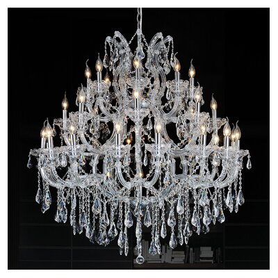 Orr Crystal 33-Light Candle-Style Chandelier Color: Chrome, Crystal Color: Clear