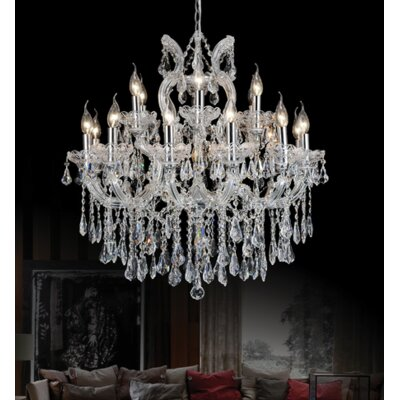 Orr Crystal 19-Light Candle-Style Chandelier Crystal Color: Smoke