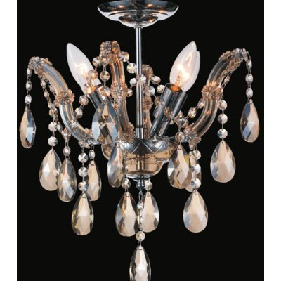 Pruitt 4-Light Semi Flush Mount Crystal Color: Cognac