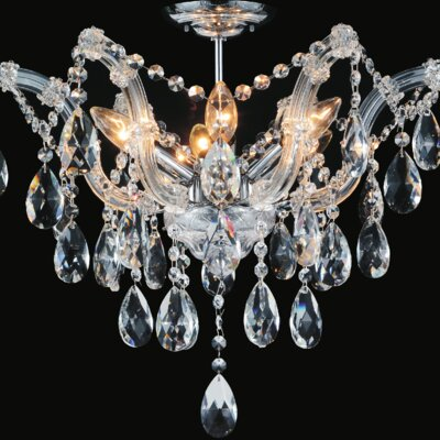 Pruitt 6-Light Semi Flush Mount Crystal Color: Clear