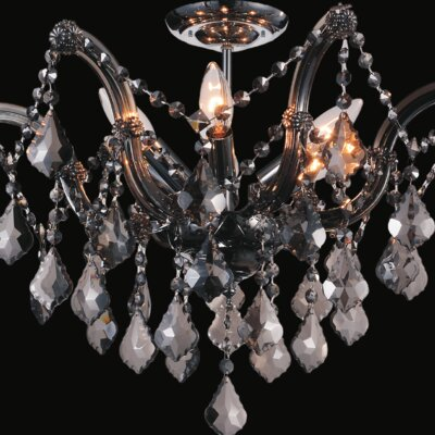 Potnis 6-Light Semi Flush Mount Crystal Color: Smoke
