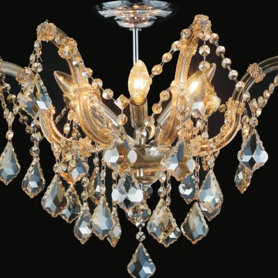 Pruitt 6-Light Semi Flush Mount Crystal Color: Cognac