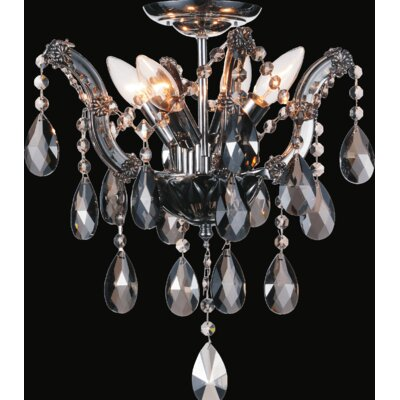 Pruitt 4-Light Semi Flush Mount Crystal Color: Smoke