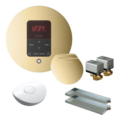 Butler Round Steam Thermostat, Timer, and Steamhead Finish: Polished Brass