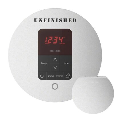 iTempo Plus Round Shower Thermostat and Steamhead Finish: White