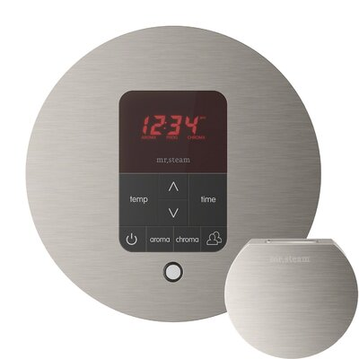 iTempo Plus Round Shower Thermostat and Steamhead Finish: Brushed Nickel