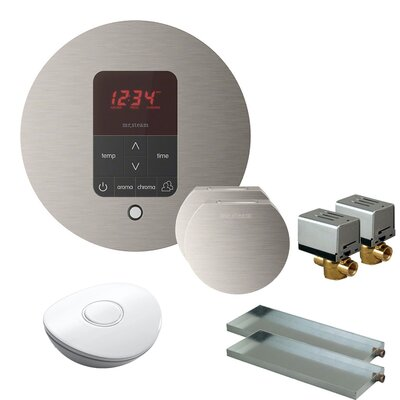 Butler Round Steam Thermostat, Timer, and Steamhead Finish: Brushed Nickel