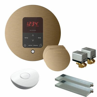 Butler Round Steam Thermostat, Timer, and Steamhead Finish: Brushed Bronze