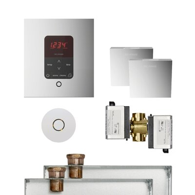 Butler Square Steam Thermostat, Timer, and Steamhead Finish: Polished Chrome