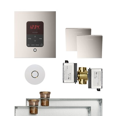 Butler Square Steam Thermostat, Timer, and Steamhead Finish: Polished Nickel