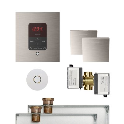 Butler Square Steam Thermostat, Timer, and Steamhead Finish: Brushed Nickel