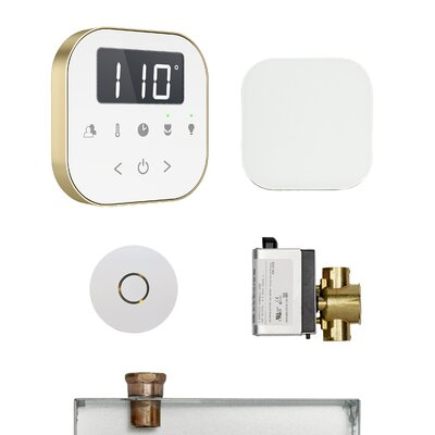 AirButler Steam Shower Package Finish: White/Brushed Bronze