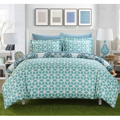 Ibiza 7 Piece Reversible Duvet Cover Set Color: Green, Size: Queen