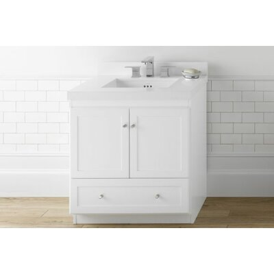 Shaker 30 Bathroom Vanity Cabinet Base in White - Frosted Glass Doors