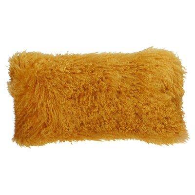 Valmont Lamb Fur Lumbar Throw Pillow Color: Gold