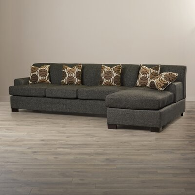 Mila Reversible Sectional Upholstery: Faux Linen Black