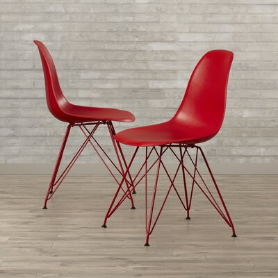 Vachon Eiffel Metal Side Chair Upholstery: Red