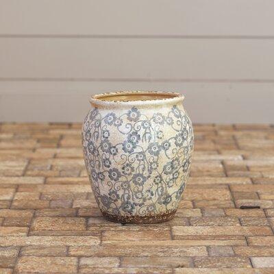 Julienne Round Pot Planter Color: Blue, Size: Large