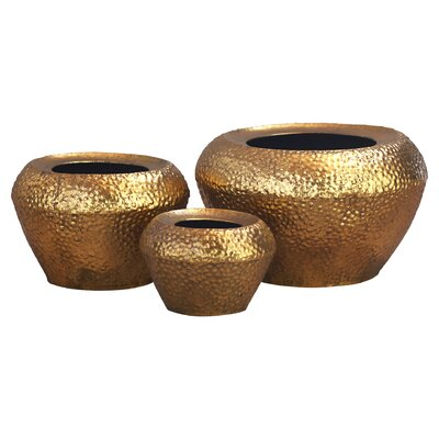 Auckland 3 Piece Metal Pot Planter Set