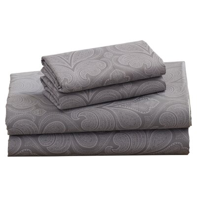 Fitzlewis 300 Thread Count Microfiber Sheet Set Size: Full, Color: Dark Gray
