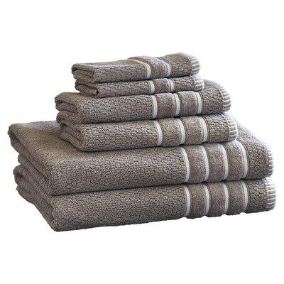 Delfino Rice Weave 6 Piece Towel Set Color: Silver