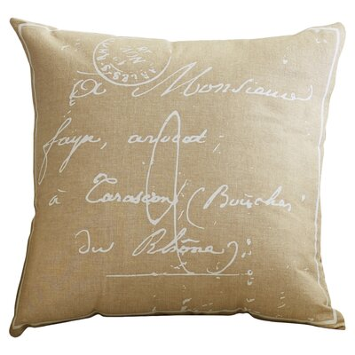 Evelina Classical French Script 100% Cotton Throw Pillow Size: 18
