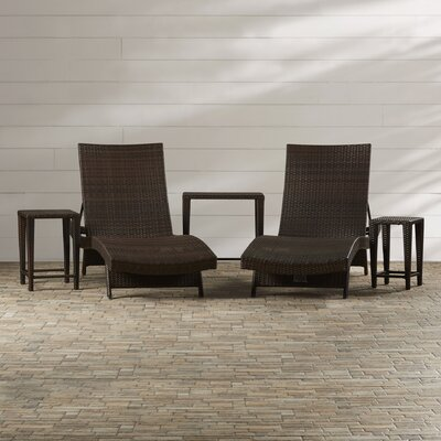 Waylon 5 Piece Adjustable Chaise Lounge & Nesting Table Set