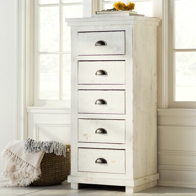 Castagnier 5 Drawer Lingerie Chest Color: Distressed White