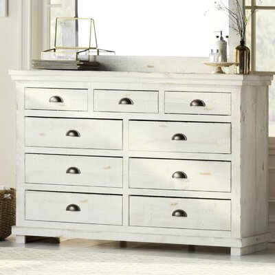 Castagnier 9 Drawer Dresser Color: Distressed White