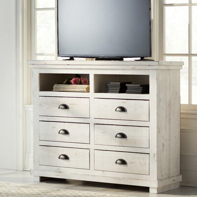 Castagnier 6 Drawer Media Chest Color: Distressed White
