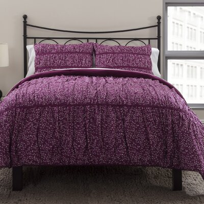 Ruched Petite Flora Duvet Cover Set Size: King