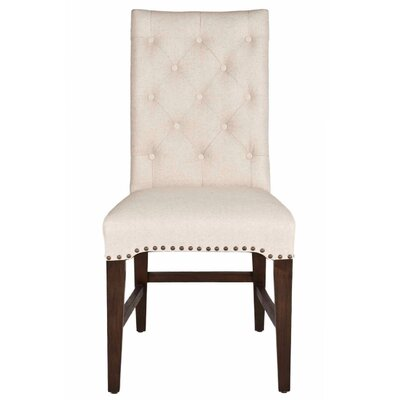 Parfondeval Upholstered Side Chair (Set of 2) Upholstery: Natural Fabric, Finish: Rustic Java