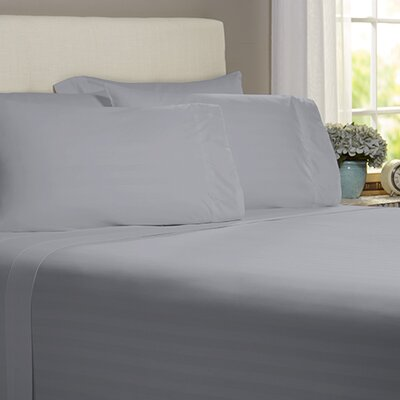 Thoreau 4 Piece 400 Thread Count Sheet Set Size: King, Color: Gray