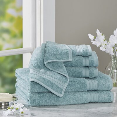 Clarke Cotton 6 Piece Towel Set Color: Glacier