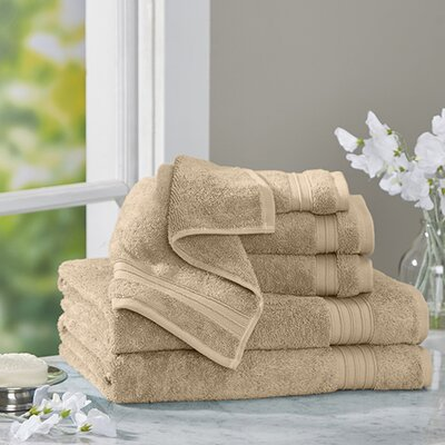 Clarke Cotton 6 Piece Towel Set Color: Sand